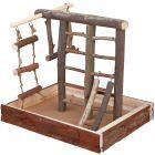 Lekställning med trapets och flera olika stegar