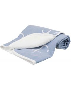 Husdjursfilt Anchor Blå. Mjuk dubbelsidig filt med ankarmotiv.