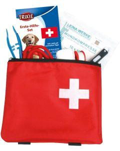 Första hjälpen väska fylld med vård produkter