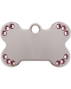 Silverfärgat hundben med äkta rosa Swarovski™ kristaller. DjurMaxi graverar din unika ID-bricka efter beställning.