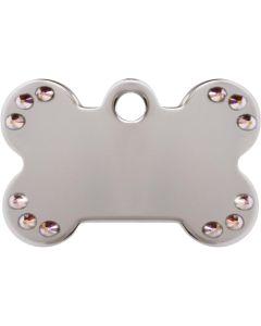 Silverfärgat hundben med äkta aurora Swarovski™ kristaller på en sida. Namnbricka med valfri gravering.