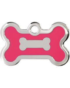 Neonrosa och silverfärgad bricka dekorerad med hundben. Namnbricka med valfri gravering. Perfekt ID-tag för alla hundar.