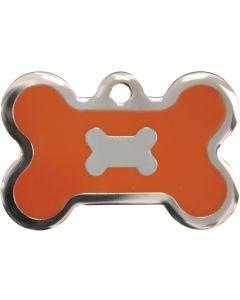 Neonorange och silverfärgad bricka dekorerad med hundben. Namnbricka med valfri gravering. Perfekt ID-tag för alla husdjur.