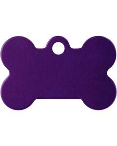 Lila benformad namnbricka med valfri gravering. Perfekt ID-tag för alla husdjur.
