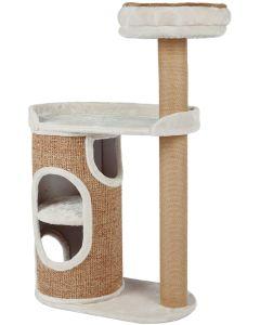 Kattmöbel med koja i två våningar och klösmatta