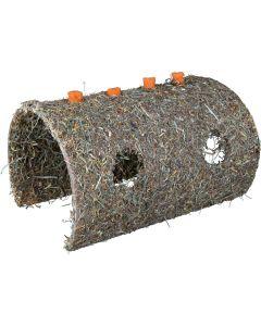 Mumsig tunnel inklädd med hö och morötter