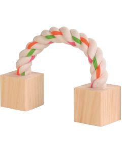 Leksak med bomullrep och träklossar