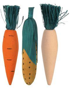 Grönsaker i trä håller tänder i trim