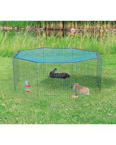Grön kaninhage med en dörr och skyddsnät