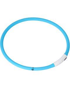 Dogman LED-Ring Turkos OneSize. Silikon halsband med LED ljus.