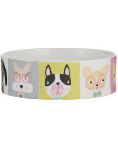 Pawtrait Bowl Dog 15x5 cm. Matskål i hög kvalitet med söta hundar.