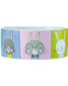 Pawtrait Bowl Rabbit 12x5 cm. Matskål i hög kvalitet med söta kaniner.
