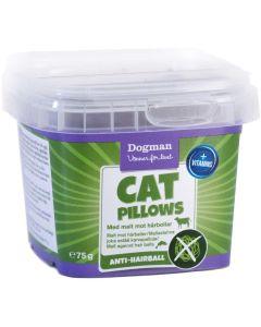 Dogman Cat Pillows Anti-Hair. Sockerfria belöningsbitar med kattmalt mot hårbollar.