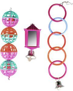 Flamingo Bird Toys Lantern 3-p. Set med 3 leksaker till små fåglar.