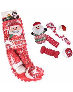 Christmas Stocking Dog Toy 6-p. Julstrumpa fylld med hundleksaker.
