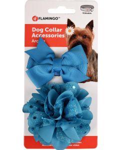 Flamingo. Accessoarer Fluga+Rosett Blå. Set med två söta accessoarer som gör din hund extra fin.