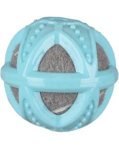 Flamingo. Hundleksak Loekie Boll 8cm. Grå tennisboll med blått gummi överdrag.