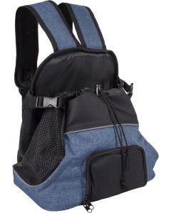 Flamingo. Frontväska Sybil Blå 29cm. Frontväska att bära som en ryggsäck fast fram på magen.
