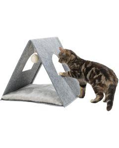Trixie Jr Grotta Ljusgrå 38cm. Stabil kattigloo av filt för små katter.