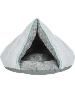 Trixie Jr Igloo Grå/Mint 45cm. Bekväm igloo i sweatshirt och plysch.