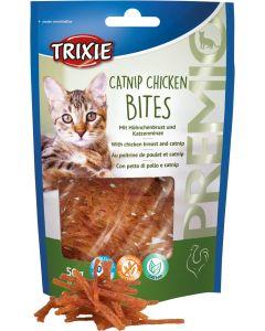 Premio Catnip Chicken Bites. Godis av kycklingbröst med kattmynta.