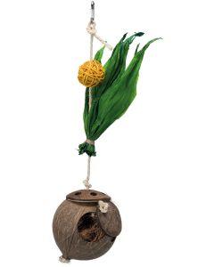 Fågelleksak av kokosnöt med majsblad och pil