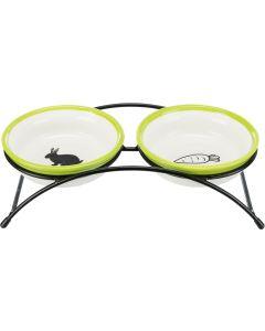 Trixie Matbar Rabbit 2x300ml. Set med ställning och skålar.