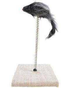 Hansbo Sport. Kattleksak Catchy Mouse. Aktivitetsplatta med mus i spiralfjäder.