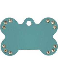 Turkos hundben med äkta vita Swarovski™ kristaller på en sida. Namnbricka med valfri gravering. Perfekt ID-tag för alla husdjur.