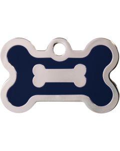 Blå och silverfärgad bricka dekorerad med hundben. Namnbricka med valfri gravering. Perfekt ID-tag för alla husdjur.