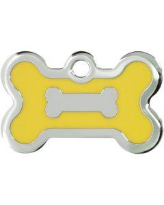 Gul och silverfärgad bricka dekorerad med hundben. Namnbricka med valfri gravering.