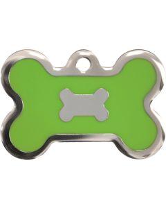 Neongrön och silverfärgad bricka dekorerad med hundben. Namnbricka med valfri gravering.