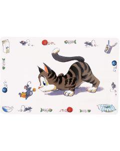 Dekorativt underlägg med katt och mus