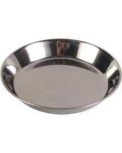 Praktisk matskål av rostfritt stål med låga kanter