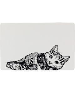 Matskålsunderlägg med katt i zentangle mönster