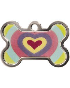 ID-bricka som skiftar färg när den vickar. Silver och multifärgad hundben dekorerad med hjärta. Namnbricka med valfri gravering.