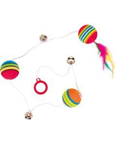 Långt gummiband med regnbågsbollar