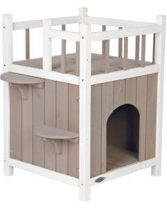 Rymligt katthus med balkong