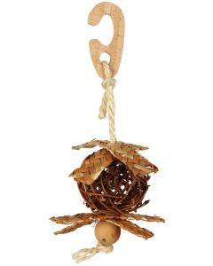 Fågelleksak fylld med ätbart häckningsmaterial