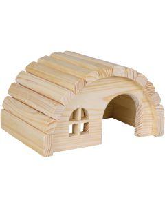 Smådjurshus av furu med rundat tak