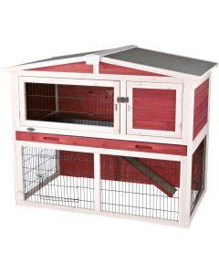 Kaninbur i två våningar med öppningsbart tak
