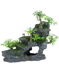 Klippformation med trappsteg och växter