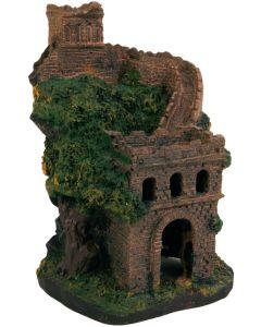 Akvariedekoration med slott och mur
