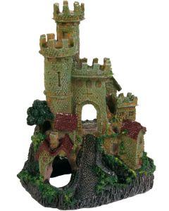 Akvariedekoration med slott och grotta