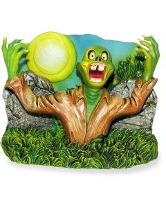 Självlysande zombie stigande från graven