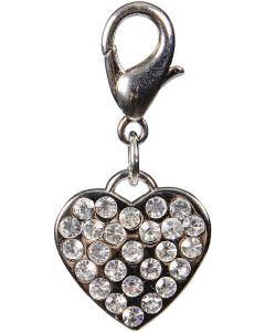 Silver hjärta med strass dekor