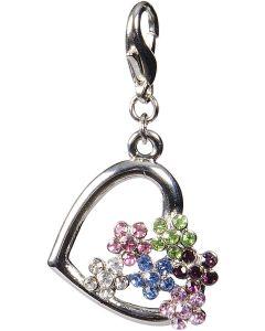 Dekorativ hjärta med strass blommor