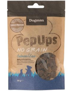 Dogman Pep Ups No Grain Salmon. Mjuka belöningsbitar med lax.