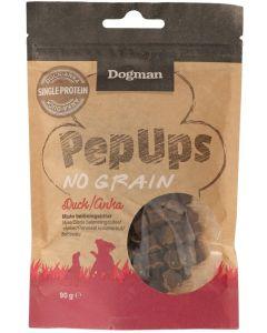 Dogman Pep Ups No Grain Duck. Mjuka belöningsbitar med anka.