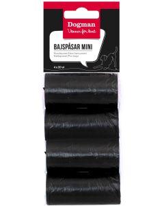 Små rullar med svarta bajspåsar